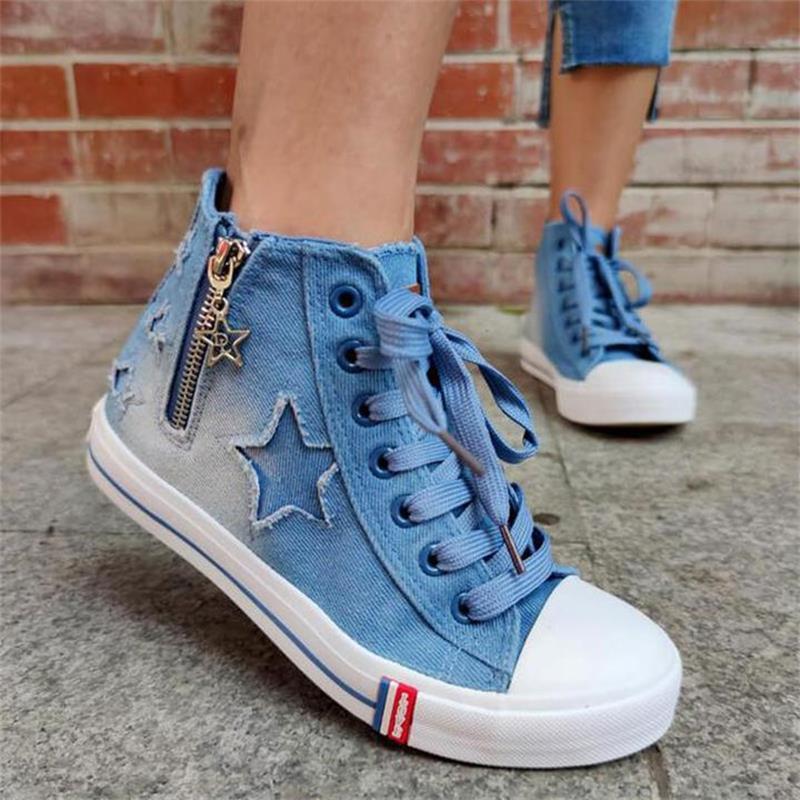 ladies-blue-denim-flat-lace-up-round-toe