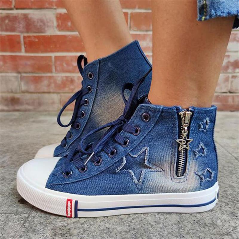 ladies-blue-denim-flat-lace-up-round-toe (4)