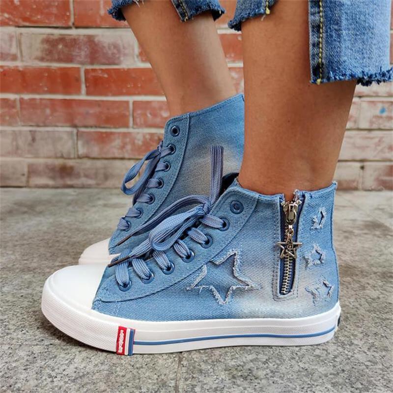 ladies-blue-denim-flat-lace-up-round-toe (5)