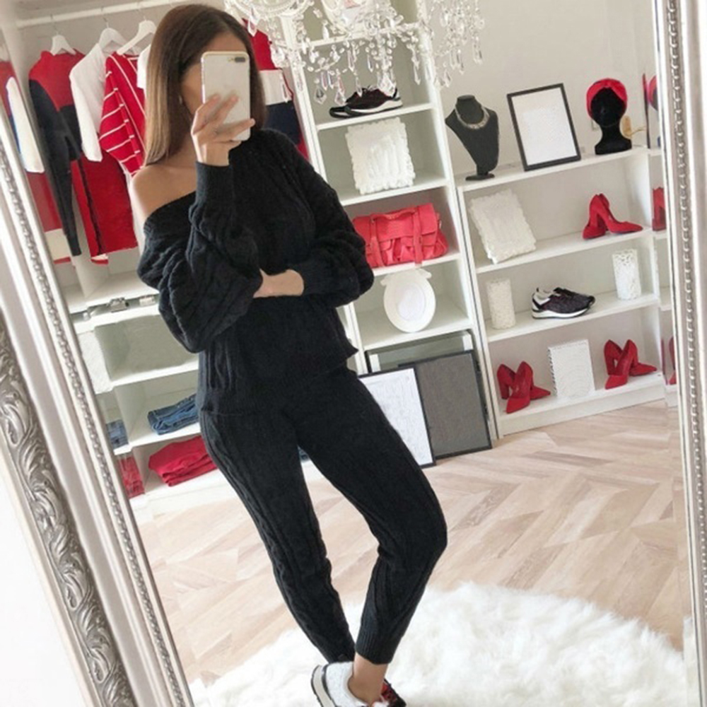 Sfit-Spring-Cotton-Tracksuit-Women-2-Piece-Set-O-Neck-Sweater-Top-Elastic-Waist-Pant-Knitted (2)