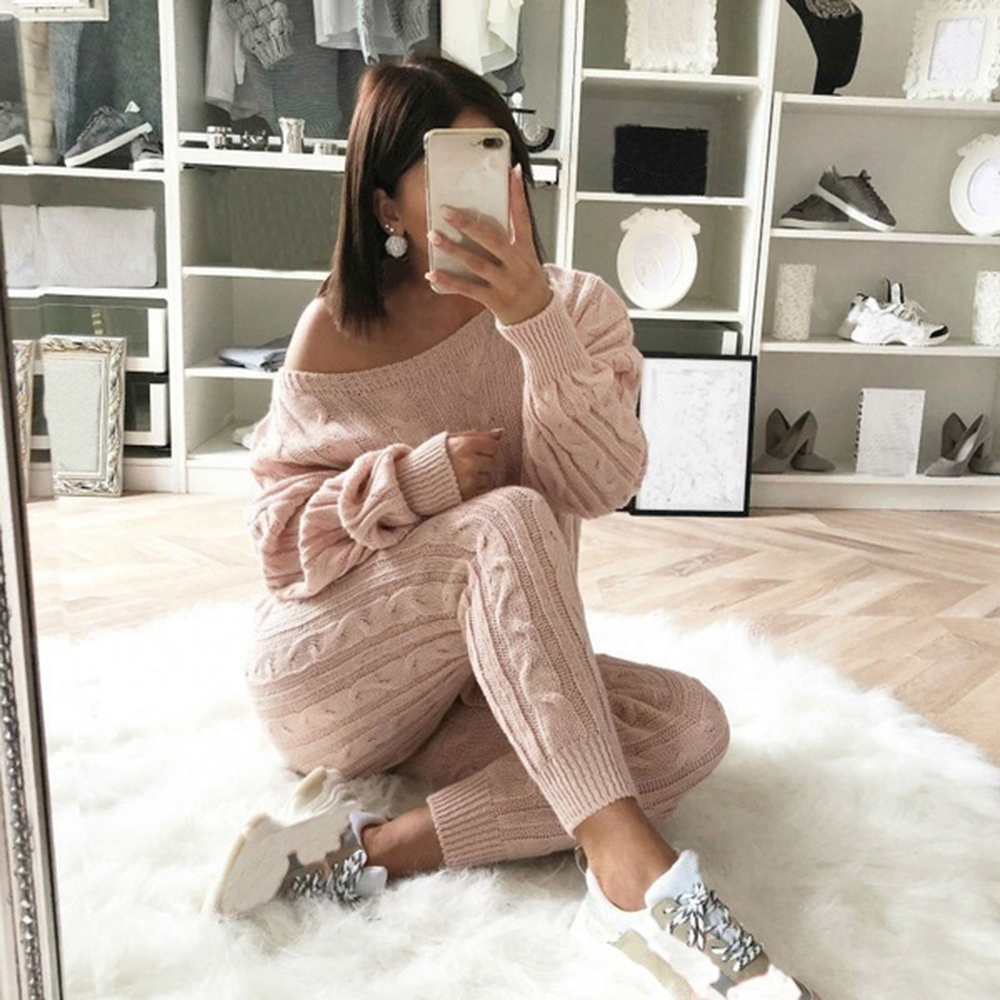 Sfit-Spring-Cotton-Tracksuit-Women-2-Piece-Set-O-Neck-Sweater-Top-Elastic-Waist-Pant-Knitted