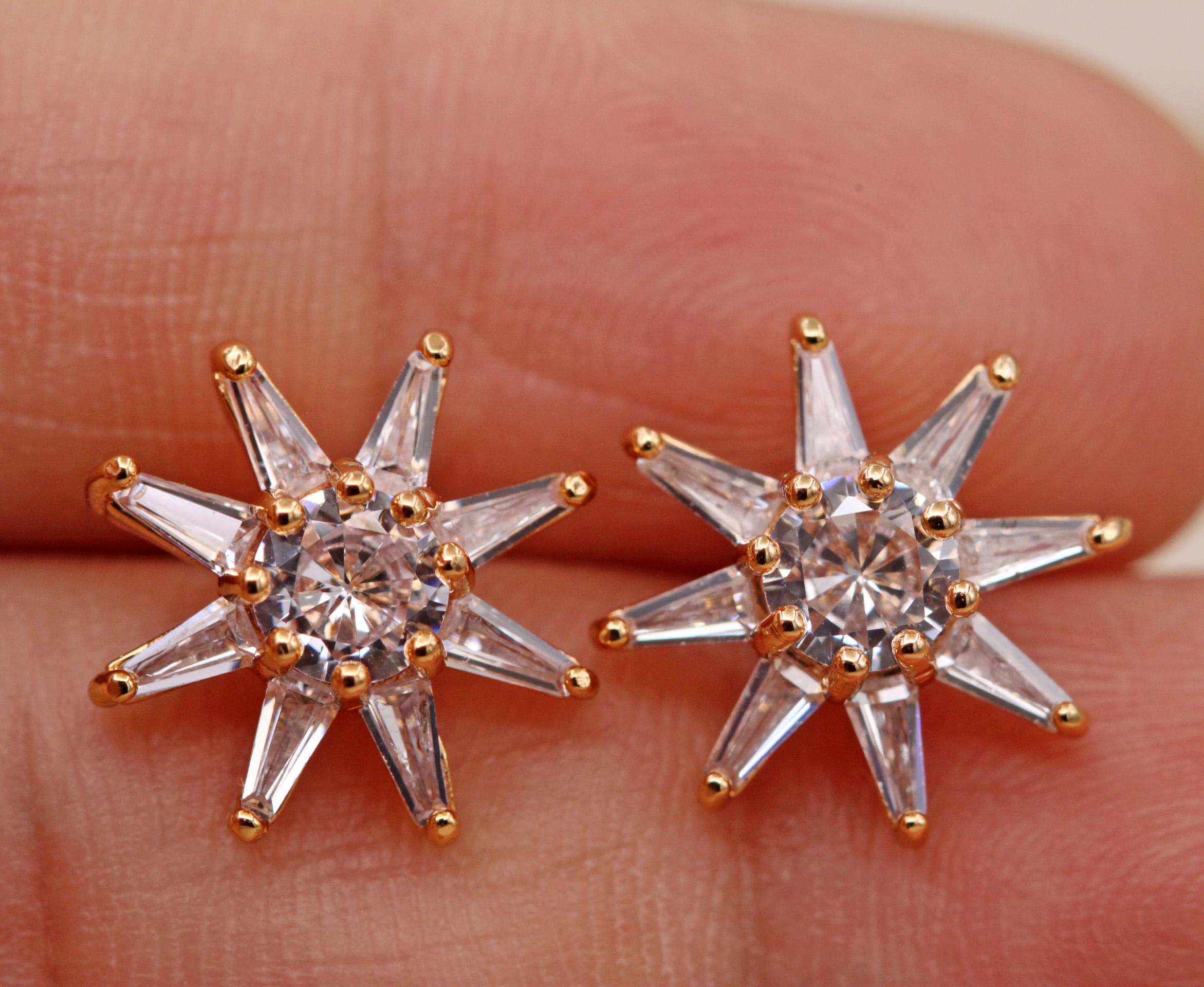 Trendy-Ear-Stud-Earrings-Flower-gem-18K-Gold-Filled-Women-Topaz-Zircon-Gift thumbnail 71