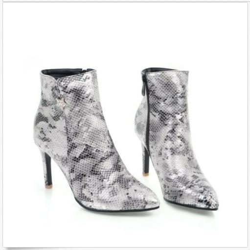 Detalles acerca de Para mujer Botas al Tobillo Piel De Serpiente Elegante Mujeres PU Cuero delgada Tacón Zapatos Talla mostrar título original
