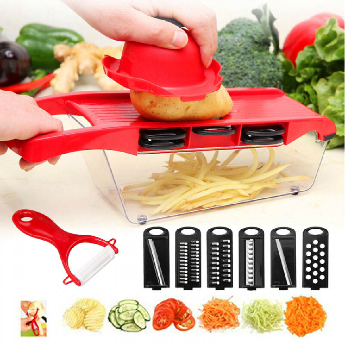 Mandoline Vegetable Slicer Potato Fruit Stainless Steel Kitc