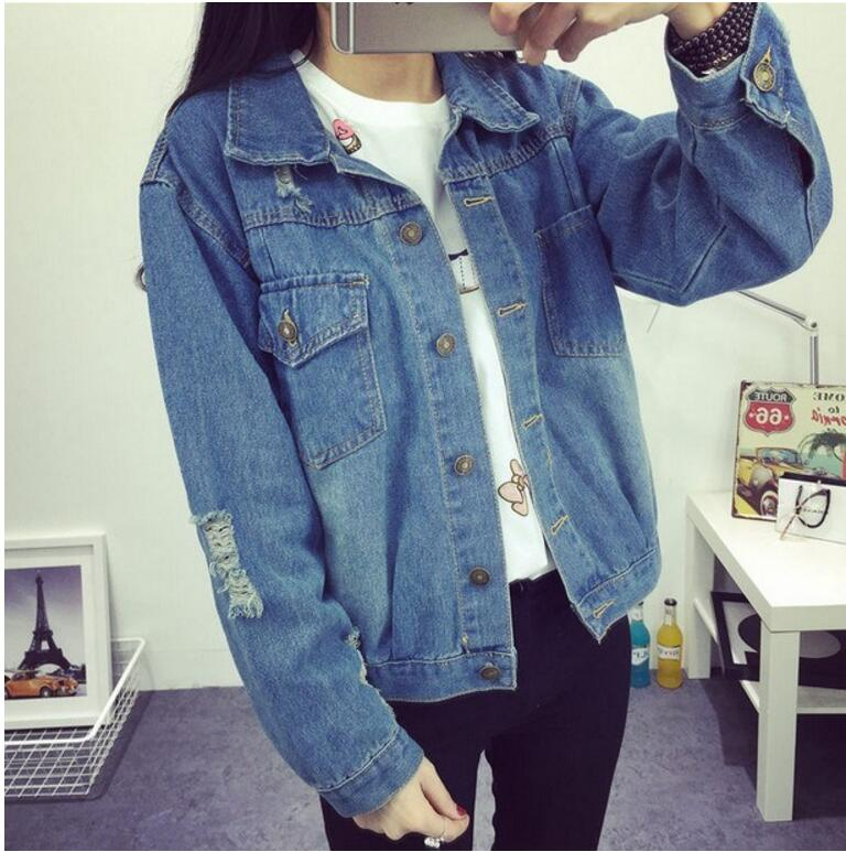 UK Womens Ladies Long Sleeve Ripped Denim Jacket Coat Jean Overcoat Size XS-2XL