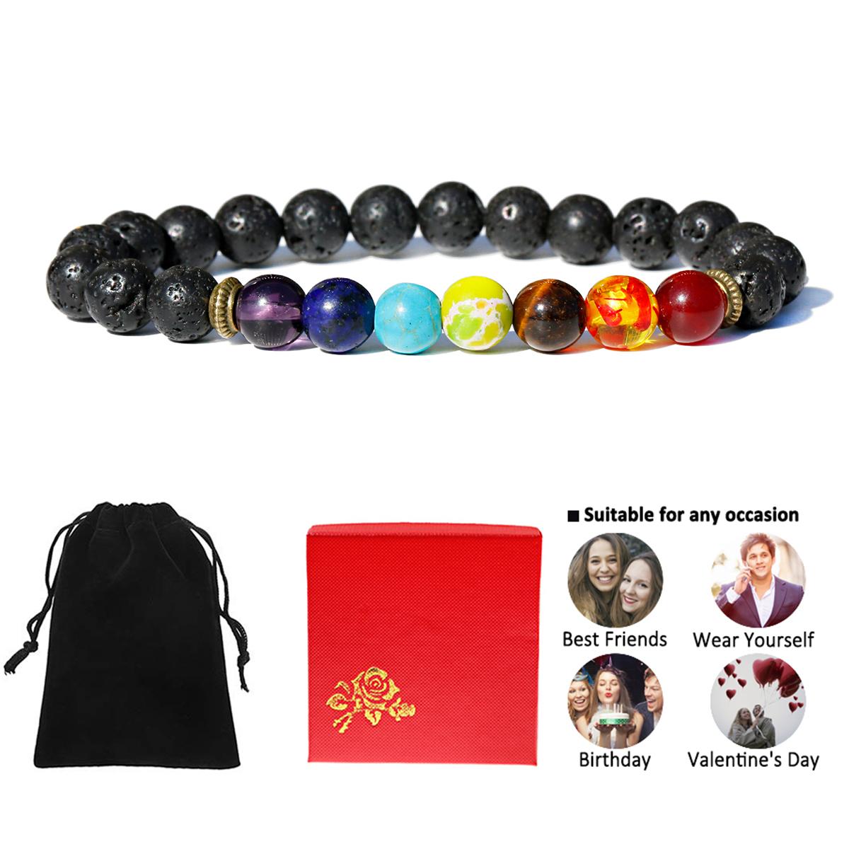Rainbow Bracelet 7 Chakra Bracelet Fathers Day Gift Chakra Bracelet SET of 2 Chakra Bracelets Unisex Yoga Bracelet Gift for Dad